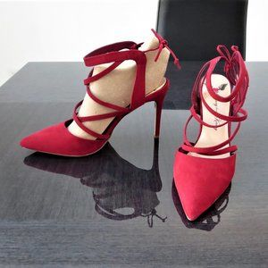 Penny Loves Kenny Suede Strappy Stiletto Heels